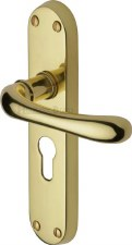 Heritage Luna Euro Lock Door Handles LUN5348 Polished Brass Lacquered