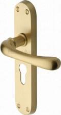 Heritage Luna Euro Lock Door Handles LUN5348 Satin Brass Lacquered