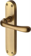 Heritage Luna Latch Door Handles LUN5310 Antique Brass Lacquered