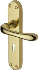 Heritage Luna Door Lock Handles LUN5300 Polished Brass Lacquered