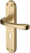 Heritage Luna Door Lock Handles LUN5300 Satin Brass Lacquered