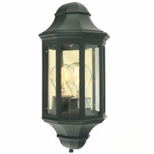 Elstead Malaga Flush Outdoor Wall Light Lantern Black