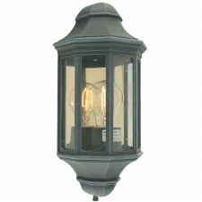 Elstead Malaga Flush Outdoor Wall Light Lantern Verdigris
