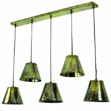 Map Room 5 Light Bar Pendant Antique Brass