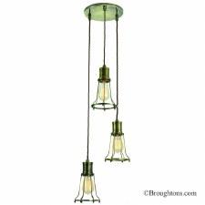 Marconi 3 Light Cluster Pendant Antique Brass
