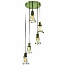 Marconi 5 Light Cluster Pendant Antique Brass
