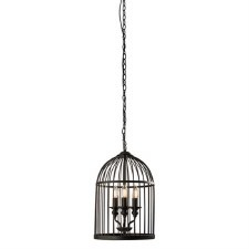Birdcage 3 Light Pendant Matt Black