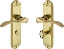 Heritage Maya Bathroom Door Handles MAY7630 Polished Brass Lacquered