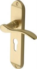 Heritage Maya Euro Lock Door Handles MAY-7648 Satin Brass Lacquered