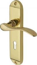Heritage Maya Door Lock Handles MAY7600 Polished Brass Lacquered