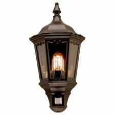 Elstead Medstead Flush Outdoor Wall Light Lantern with PIR Black