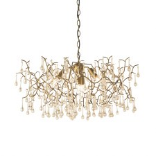 Melbury 4 Light Droplet Pendant Aged Gold & Champagne Glass