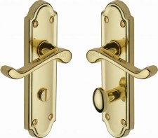 Heritage Meridian Bathroom Door Handles V330 Polished Brass Lacquered