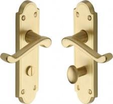 Heritage Meridian Bathroom Door Handles V330 Satin Brass Lacquered
