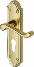 Heritage Meridian Euro Lock Door Handles V327 Polished Brass Lacquered