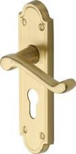 Heritage Meridian Euro Lock Door Handles V327 Satin Brass Lacquered