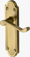 Heritage Meridian Latch Door Handles V313 Antique Brass Lacquered