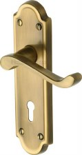 Heritage Meridian Door Lock Handles V300 Antique Brass Lacquered