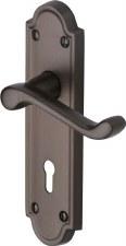 Heritage Meridian Door Lock Handles V300 Matt Bronze