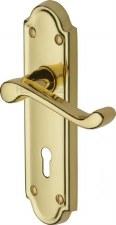 Heritage Meridian Door Lock Handles V300 Polished Brass Lacquered