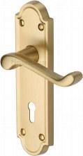 Heritage Meridian Door Lock Handles V300 Satin Brass Lacquered