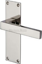 Heritage Metro Latch Door Handles MET4910 Polished Nickel