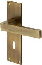 Heritage Metro Door Lock Handles MET4900 Handles Antique Brass Lacq