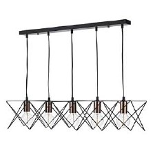 Midi 5 Light Bar Pendant Black & Copper
