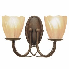 Elstead Minster Double Wall Light Black Gold