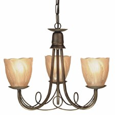Elstead Minster 3 Arm Chandelier Black Gold