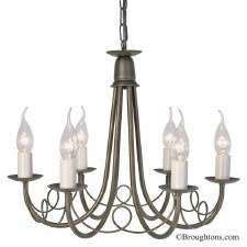 Elstead Minster 6 Light Chandelier Black Gold