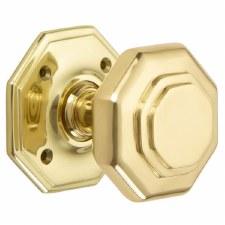 "Croft 4180 3"" Octagonal Door Knobs Polished Brass Unlacquered"