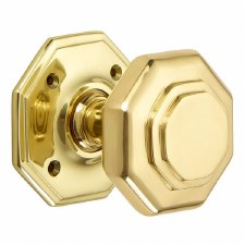 "Croft 4185 4"" Octagonal Door Knobs Polished Brass Unlacquered"