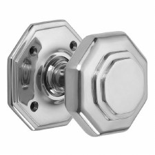 "Croft 4185 4"" Octagonal Door Knobs Polished Chrome"