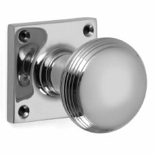 Croft 6347 Reeded Cushion Bun Door Knobs Polished Chrome