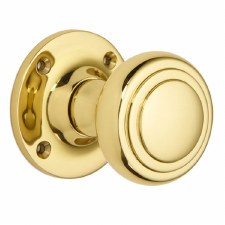 Croft 6348 Stepped Cushion Door Knob Polished Brass Unlacquered