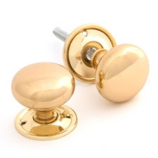 From The Anvil Mushroom Mortice or Rim Door Knobs Polished Brass
