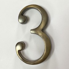 Aston Numeral 3 Pin Fix Antique Brass