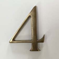 Aston Numeral 4 Pin Fix Antique Brass
