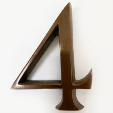 Aston Numeral 4 Pin Fix Polished Solid Bronze Antiqued
