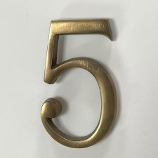 Aston Numeral 5 Pin Fix Antique Brass
