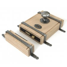 "From The Anvil 9"" Oak Box & Strap Lock & Knobs Pewter"