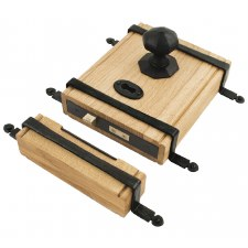 "From The Anvil 9"" Oak Box & Strap Lock & Knobs Black"