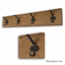 Oak Hook Board with 4 Iron Made In Leicester Hooks 80cm