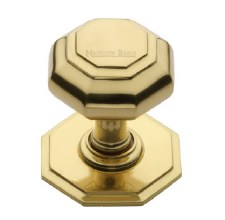 Heritage V890 Centre Door Knob Polished Brass Lacquered