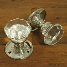 Octagonal Glass Door Knobs Polished Nickel