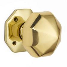 Croft 1751 Octagonal Door Knobs 76mm Polished Brass Unlacquered