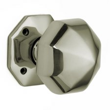 Croft Octagonal Rim Knobs 76mm Polished Nickel