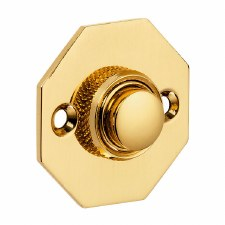Croft Octagonal Door Bell Push 1916 Polished Brass Unlacquered