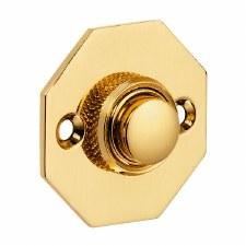 Croft Octagonal Door Bell Push 1916 Polished Brass Unlacquered